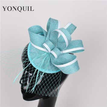 High quality 15 colors turquoise fascinator with feather sinamay fascinators hats bridal hair accessories with veil occasion hat