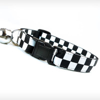 "Cat Collar - ""Time Bomb"" - Black & White Checkered"