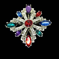 Large Jewel Colors Rhinestone and Marcasite Maltese Cross Brooch Pendant Marquise Cut in Silver Tone