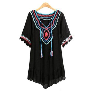 2017 Womens Summer Lace-up Tie Tassel V Nevk Short Sleeve Lace Crochet Splice Ruffles Loose Casual Beach Boho Mini Dress Vestido