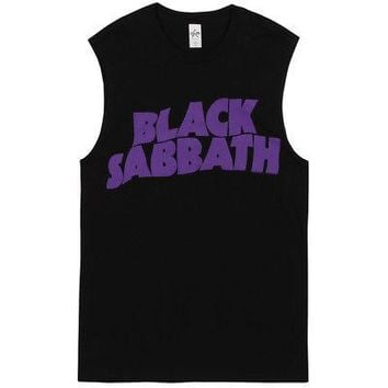 Black Sabbath Master Of Reality Purple Logo Licensed Adult Muscle Tank Shirt