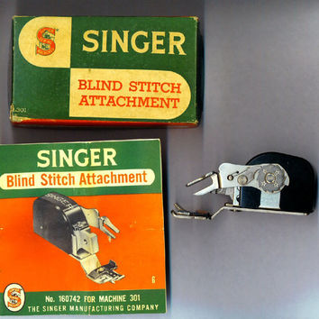 Vintage SINGER 301 Blind Stitch Attachment Complete 160742 Box Manual