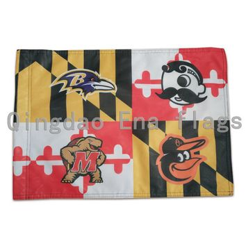 "Stock 13""x18""Double Sided Knitted Polyester Baltimore Ravens Baltimore Orioles Natty Boh Maryland Terrapins Flag With Sleeve"