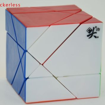 2016 New Dayan Tangram Cube Black/White/Stickerless/Purple Transparent(unstickered)Magic Puzzle Cube Educational Twist Toy