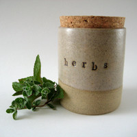 Herb Jar, Ceramic Kitchen Storage Pot with Cork Stopper Lid, Rustic Handthrown Stoneware Pottery