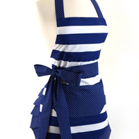 Flirty Aprons NAUTICAL NAVY APRON is Sexy, Fun, Flattering, Fashionable, Vintage, & Cute!