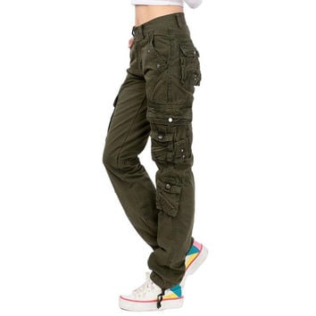 Lixmee Women'S Solid Color Regular Cargo Pants