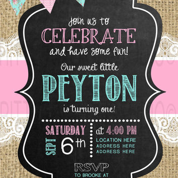 Burlap Lace Chalkboard Birthday Invitation - Digital File