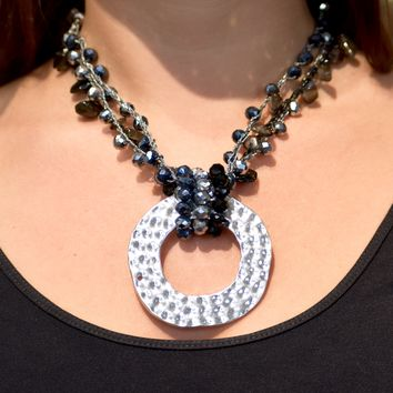 Beaded Chain Necklace with Hammered Circle Pendant