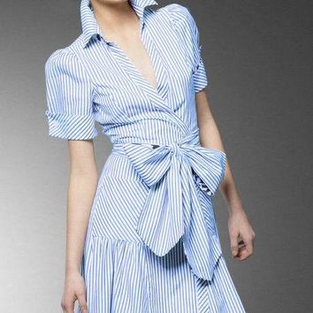 2017 Women's summer new blue and white striped lapel shirt dress short sleeve tie waist shirt dress