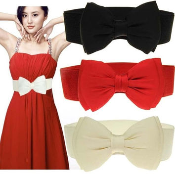 Women's Bowknot Elastic Bow Wide Stretch Buckle Waistband Waist Belt Vogue = 1958132548