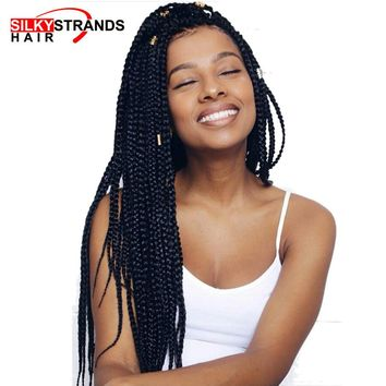 Silky Strands Medium Box Braids Crochet Hair Extensions Ombre Kanekalon Fiber Synthetic Braiding Hair Bulk Crochet Braids