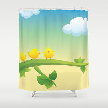 Little Feathered Friends Shower Curtain by Texnotropio