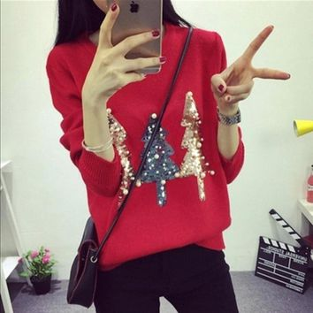 Women Christmas Sweater Pullover Winter 2018 New Hot Fashion O-neck Sequined Christmas Tree Long Sleeve Knit Pullovers Sweaters