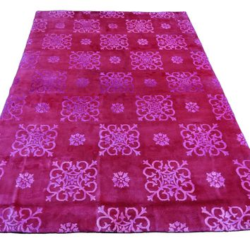 6x9 Overdyed Hot Pink Raspberry Wool Silk Rug 2662