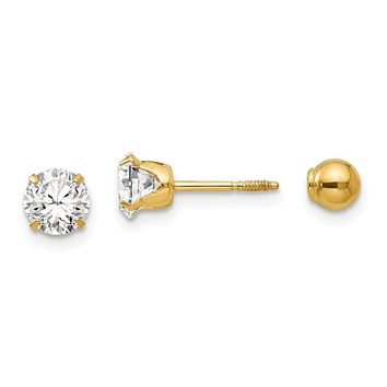 Reversible 5mm Crystal and Ball Screw Back Earrings in 14k Yello 7f8b6b3966