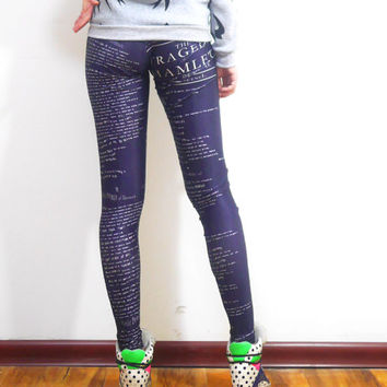 SALES - Hamlet Letters leggings -Handmade spandex leggings - Black leggings - Womens Leggings - Yoga Pants/Tights - Printed leggings
