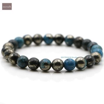 EDOTHALIA New 8MM Blue Color Plated Pyrite Beads Stretched Bracelets For Men And Women Lover's Gift