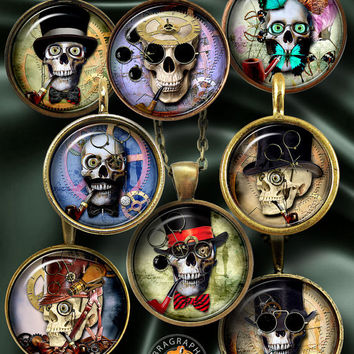 """Halloween Steampunk Skull - Digital Collage Sheets - 1.5"""", 1.25"""", 30mm, 25mm, 1"""" circles Printable digital download for Bottle Caps CG-967C"""