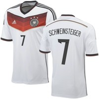 Schweinsteiger #7 Germany adidas 2014 World Soccer Replica Home Jersey - White