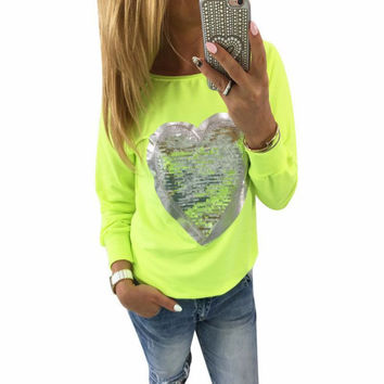Casual Sequins Heart Hoodies Women Stylish Tee Shirt Femme Fashion Tops Apparel Long Sleeve Tees