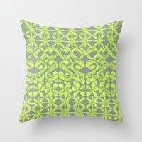 Ikat Lace in Lime on Dark Grey Throw Pillow by micklyn
