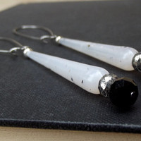 Long Bridal Earrings: Sleek and Modern Wedding Jewelry, Classic Black and White Minimalist Slender Earrings, Winter Accessory