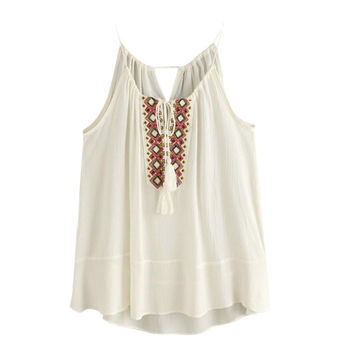 Sexy Womens Camisole Embroidered Tassel Cropped Top Summer Beach Women Lingerie Loose Camisoles Chalecos Mujer#121