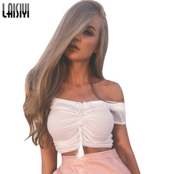 LAISIYI Black White Strapless Top Sexy Off Shoulder Crop Tops Women 2017 Summer Camis Tank Backless Fitness Top ASVE20029