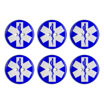 Star of Life Medical Health EMT RN MD Plastic Resin Button Set of 6