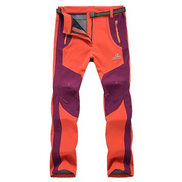 Outdoor pants men's autumn and winter Warm breathable color matching sports windproof waterproof fleece climbing trousers