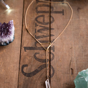 BOW & ARROW QUARTZ Lariat - Minimalistic Necklace Tibetan Clear Quartz Point Geometric Jewelry Raw Gemstone Gifts for Her