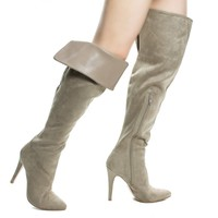 Sandra Clay By Aquapillar, Clay Suede Foldable High Heel Stiletto OTK Over Knee Thigh High Dress Boots