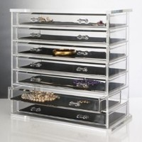 Deluxe 7-drawer Jewelry Chest or Cosmetic Organizer with Removable Drawers and Liners