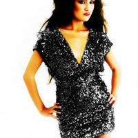 Plus Size San Vicente Chic Black Sequin Two Strap