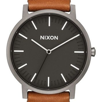 Nixon The Porter Leather Strap Watch, 40mm | Nordstrom