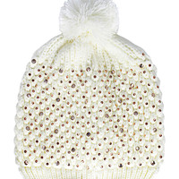 Crystal Bling Beanie Hat in Cream – bandbcouture.com