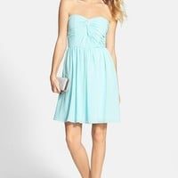Junior Women's a. drea Twist Front Strapless Dress