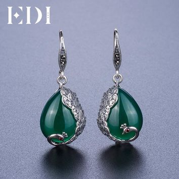 EDI Vintage Green Chalcedony Natural Stone Earrings Antiallergic Peacock Shape Bohemian Indian Jewelry For Women