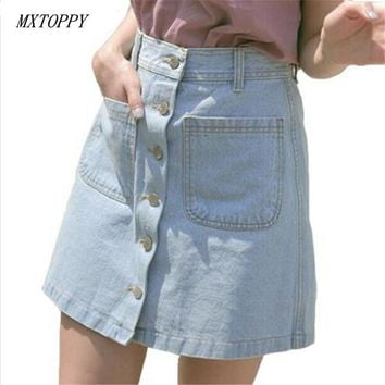 New 2017 Women Summer Denim Skirts Fashion High Waist Cowboy Skirts Blue Mini Jeans Skirt Female Sexy Midi Pencil Skirt Faldas