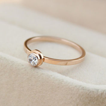 womens retro rose gold ring diamond tail ring gift-148