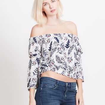 LE3NO Womens Chiffon Floral Print Off Shoulder Bell Sleeves Flowy Crop Top