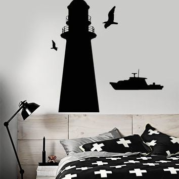 Vinyl Wall Decal Lighthouse Ship Boat Sea Style Naval Police Stickers Unique Gift (1743ig)