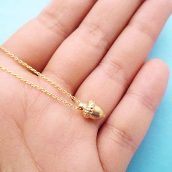 Tiny, Acorn, Necklace, Gold, Acorn, Necklace, Cute, Minimal, Necklace, Small, Acorn, Jewelry, Acorn, Necklace