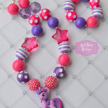 My little pony twilight sparkle star jewelry MLP FIM Chunky Bubblegum Necklace Bubble Gum