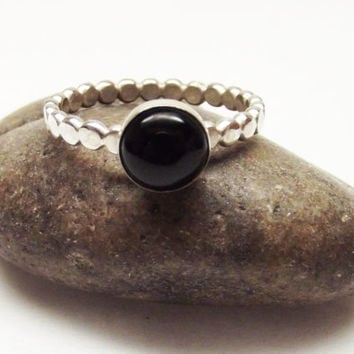 Black Onyx High Dome 8mm Encased in Fine Silver Bezel on Sterling Silver 2.4mm Dot Ring- Oh My Metals