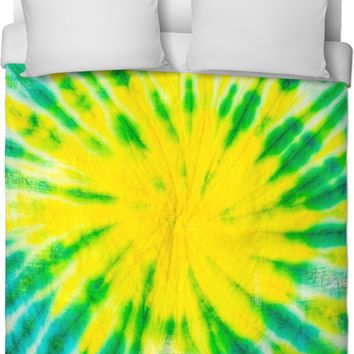 Green And Yellow Tie Dye Duvet Cover