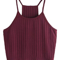 Women's Summer Basic Sexy Strappy Sleeveless Racerback Crop Top