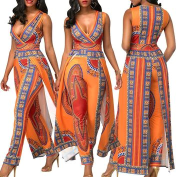 sleeveless African print women jumpsuits romper sexy deep v neck orange Elastic tunic party club bandage macacao hot