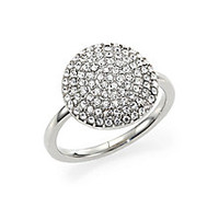Michael Kors - Brilliance Statement Pavé Disc Ring/Silvertone - Saks Fifth Avenue Mobile